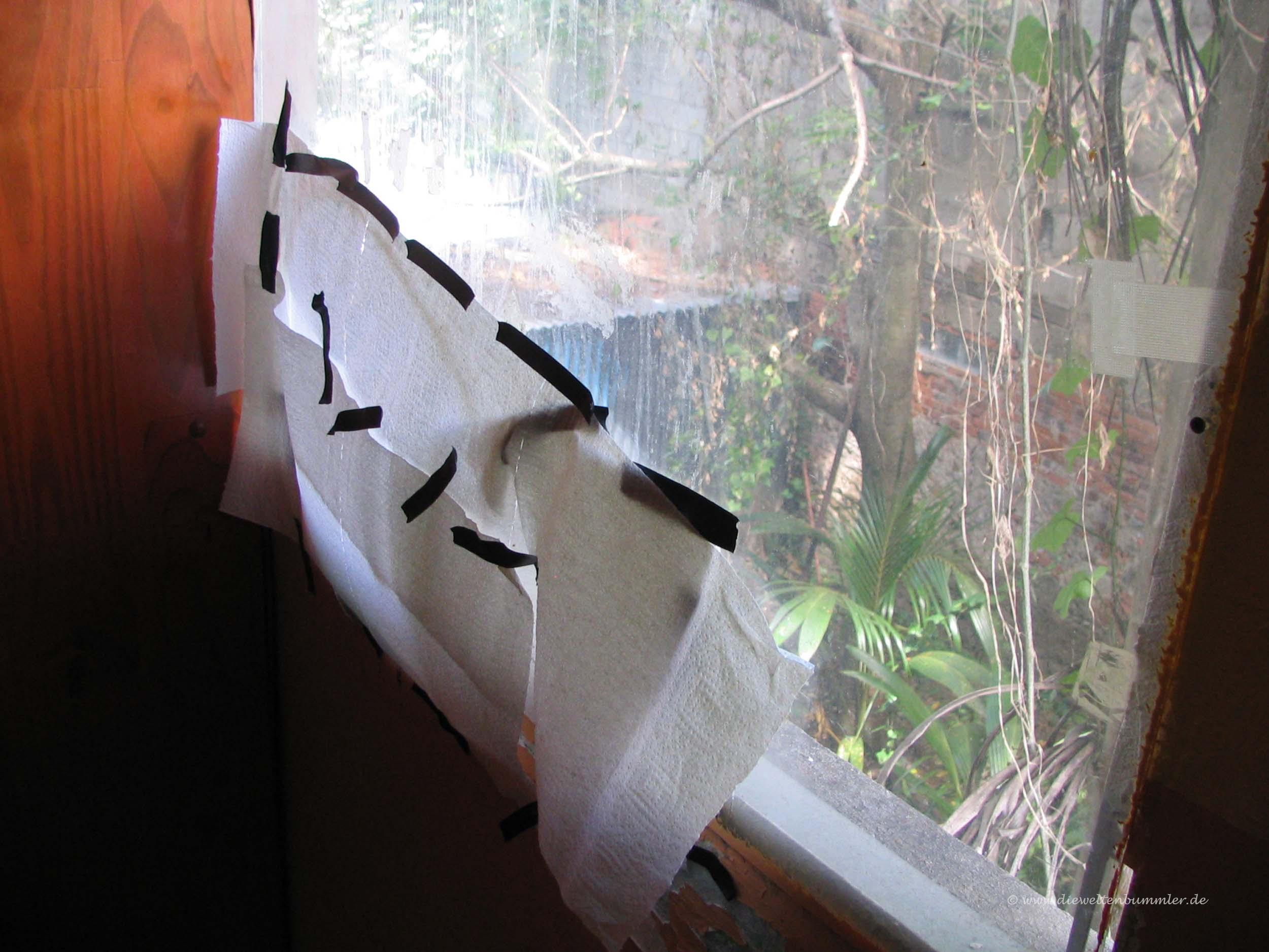 Selbst geflicktes Fenster
