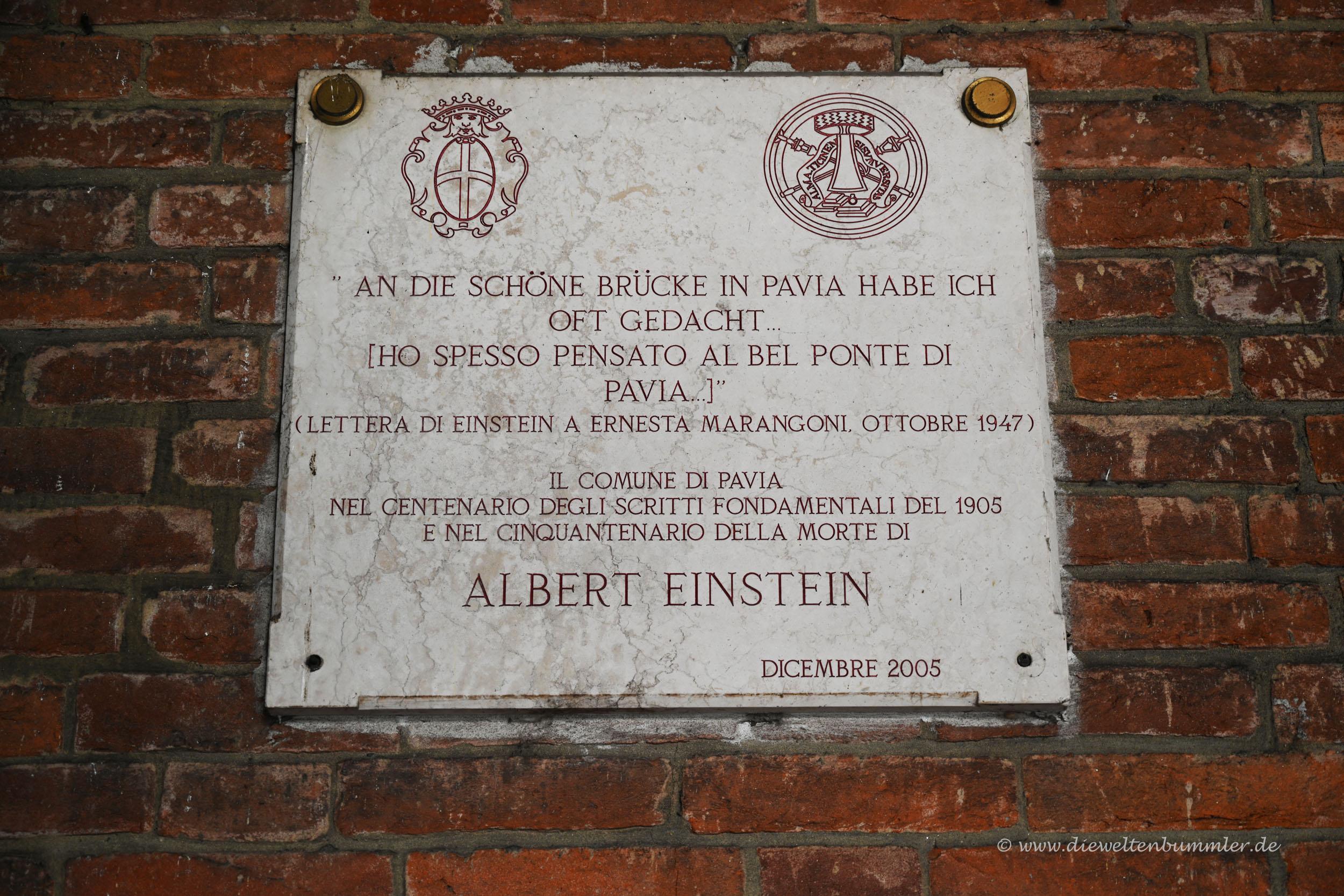 Erinnerung an Albert Einstein in Pavia
