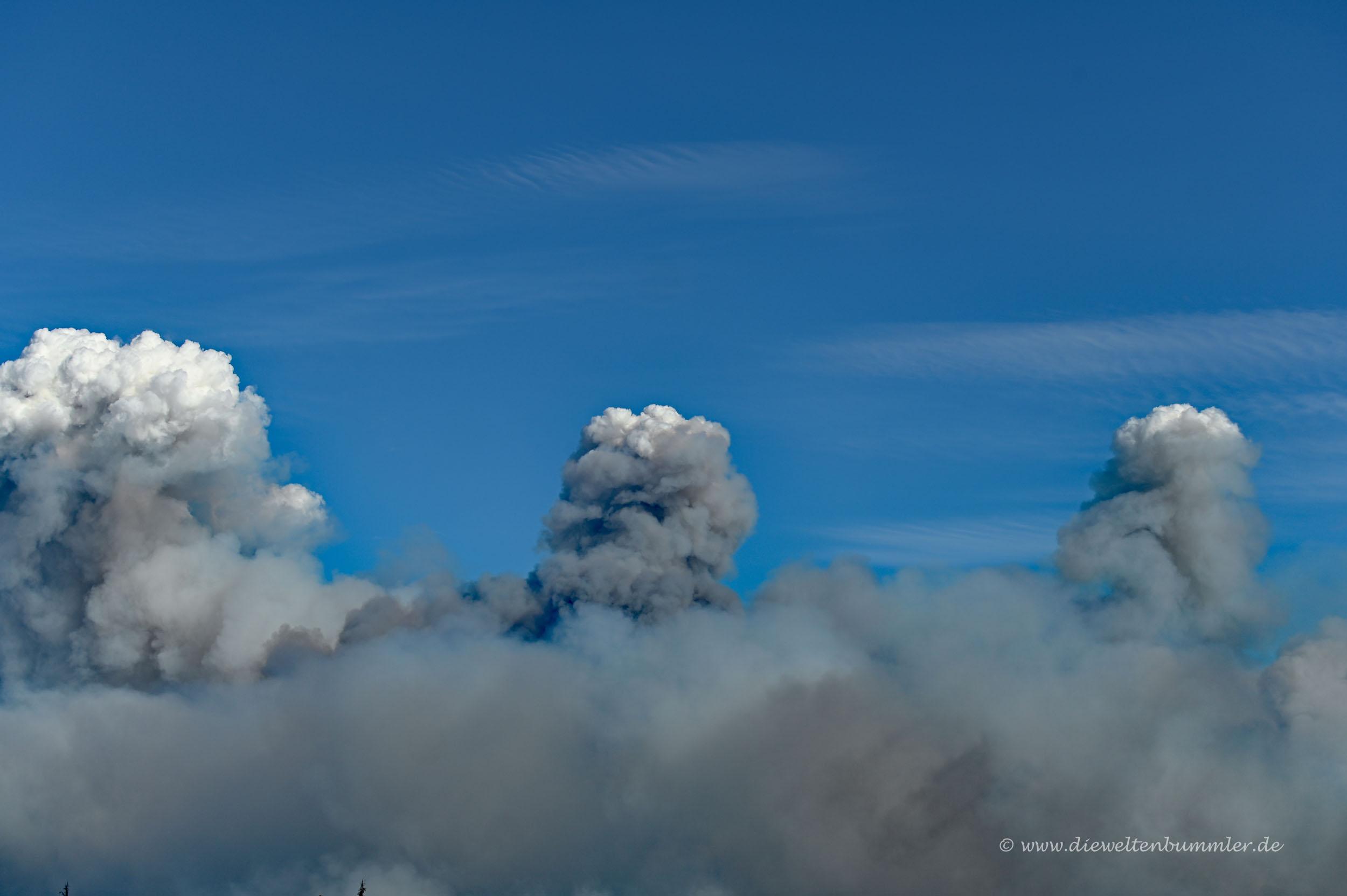 Rauchsäulen der Waldbrände