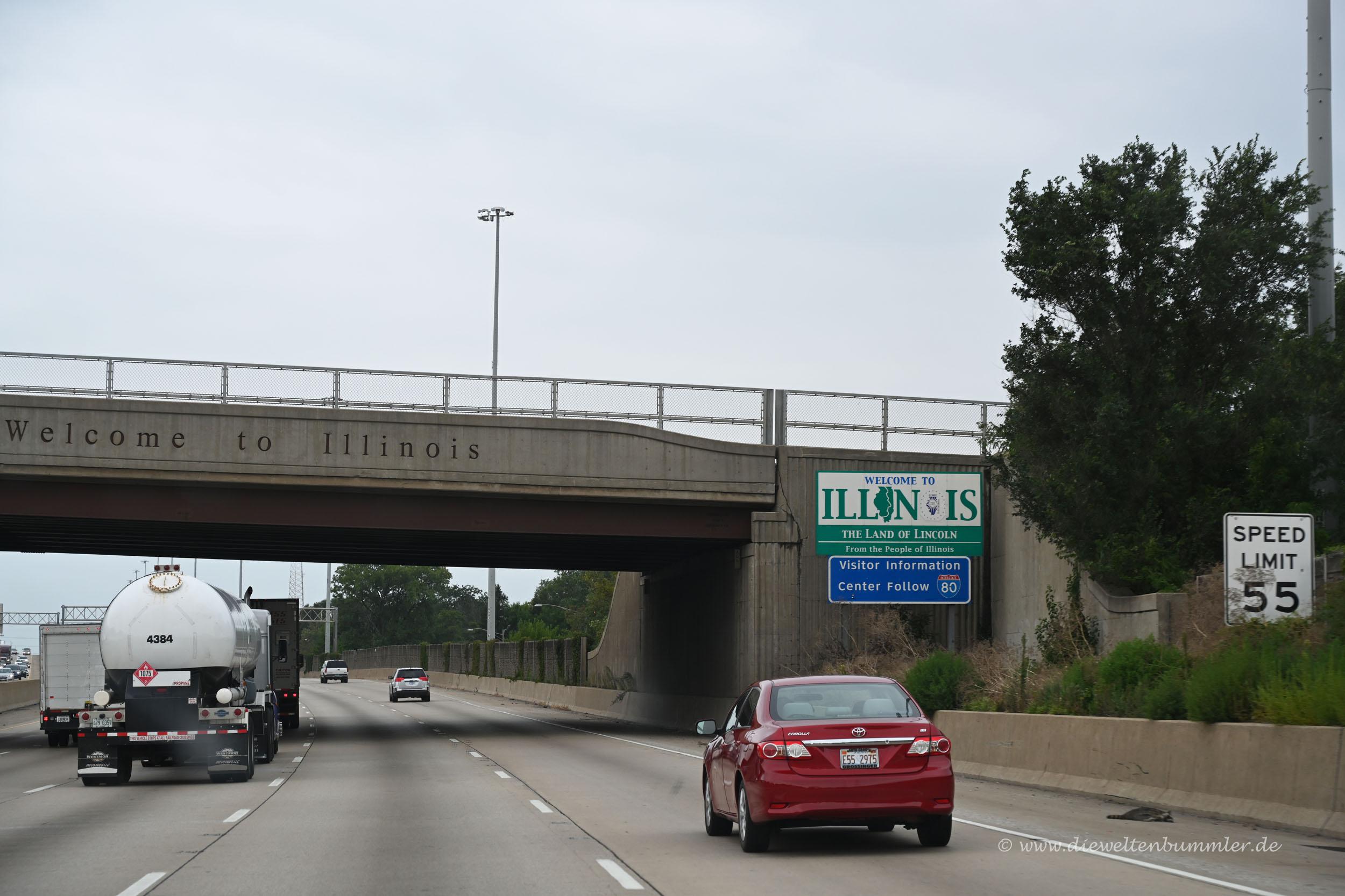 Willkommensschild von Illinois