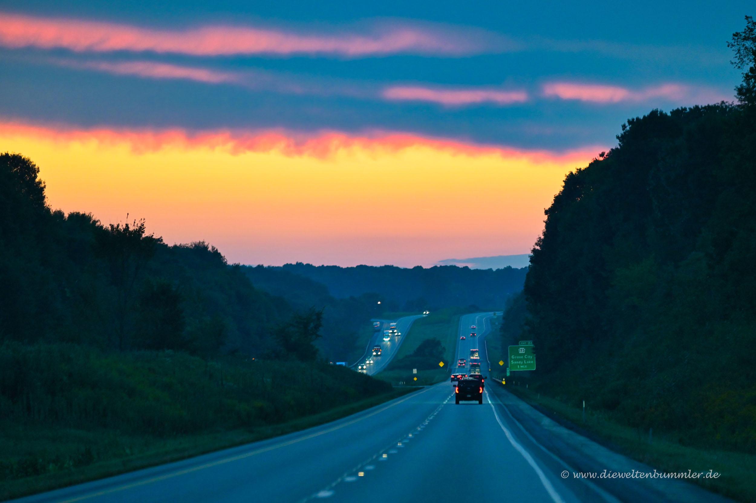 Abendstimmung auf der Interstate