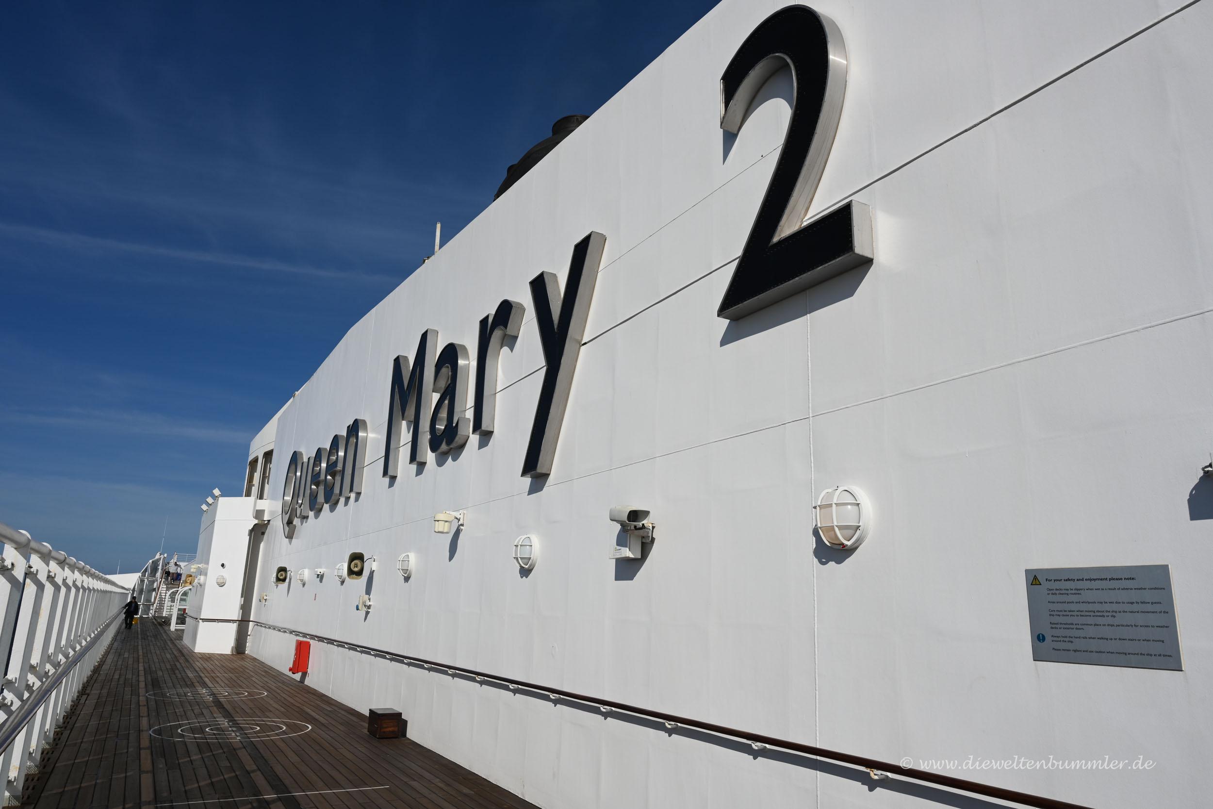 Schriftzug der Queen Mary