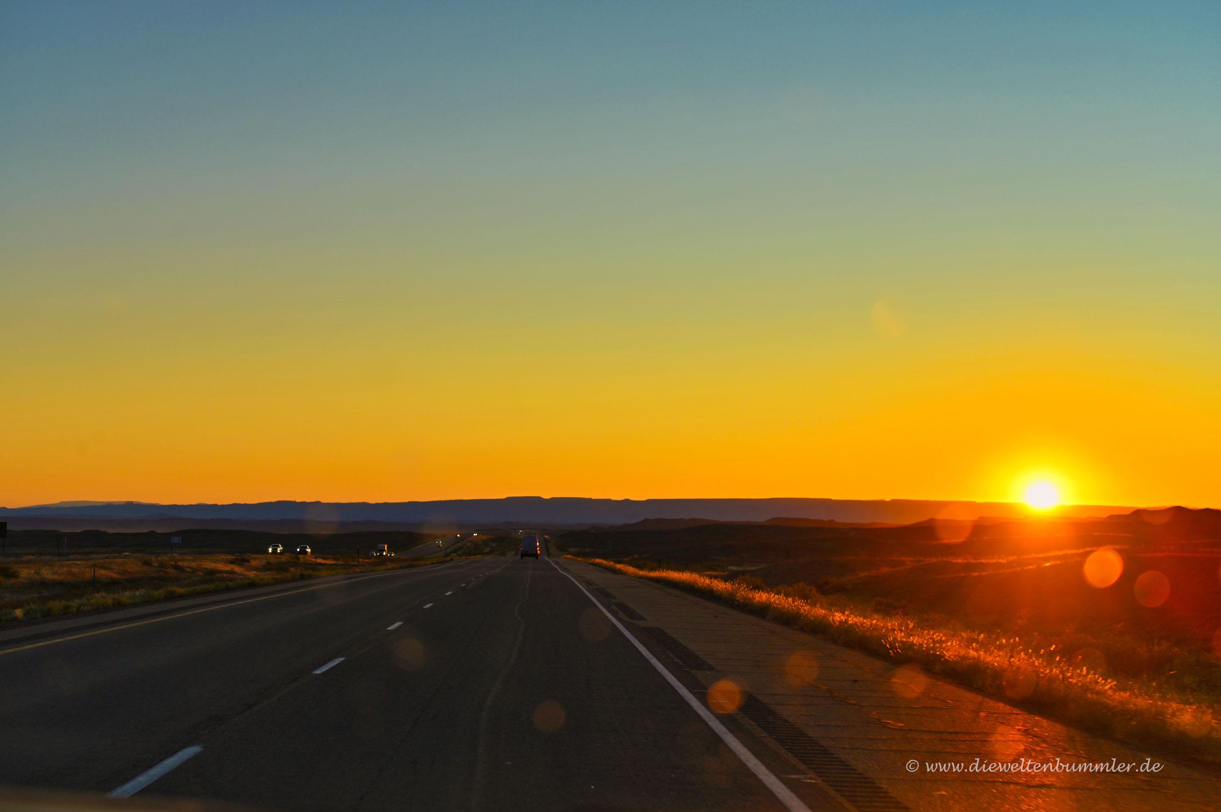 Sonnenuntergang auf dem Weg zum Hotel