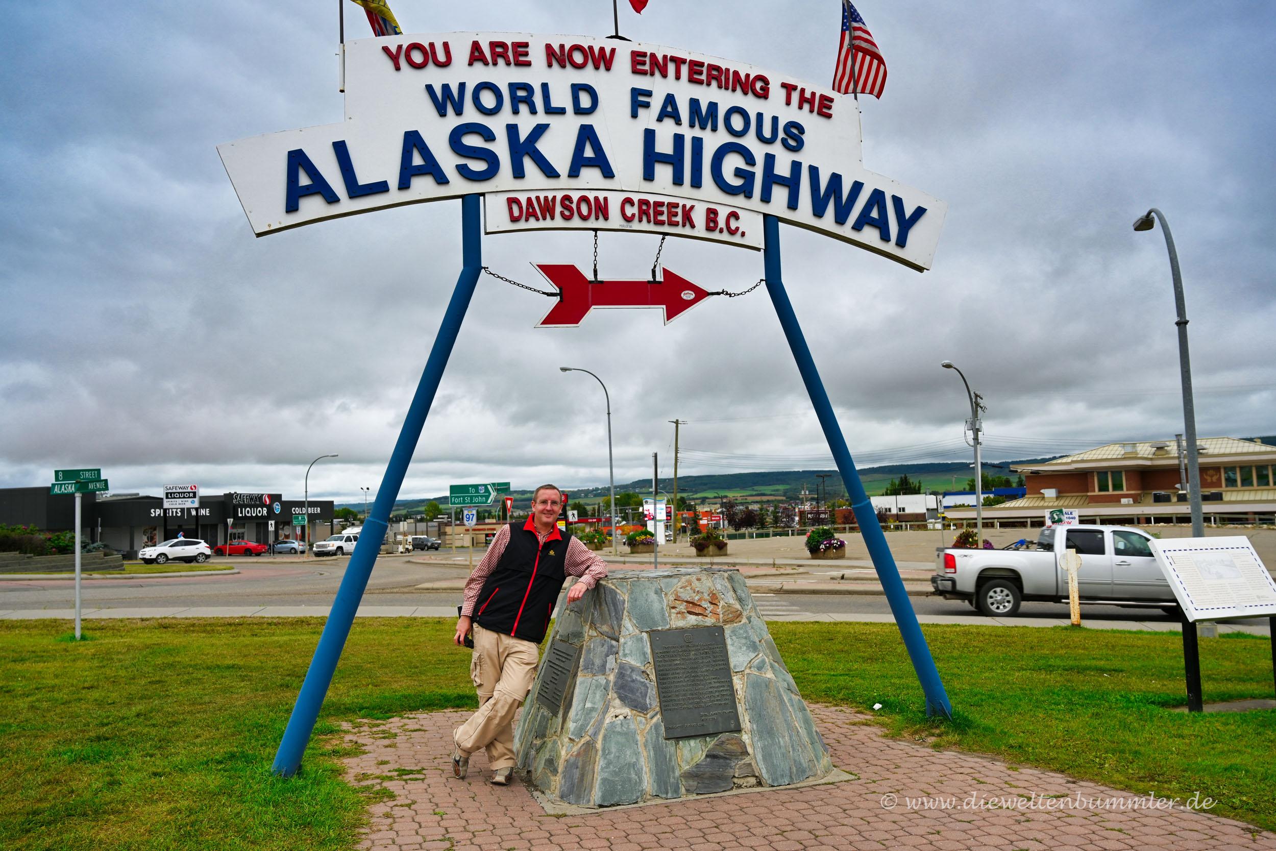 Beginn des Alaska Highways