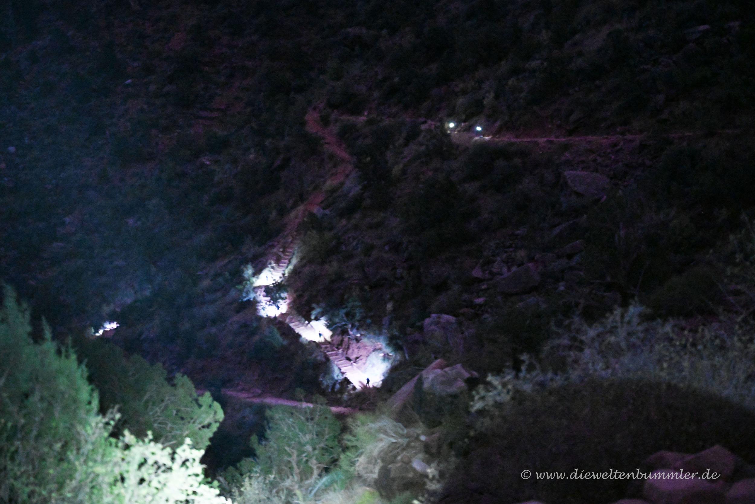 Stirnlampen bei Nacht