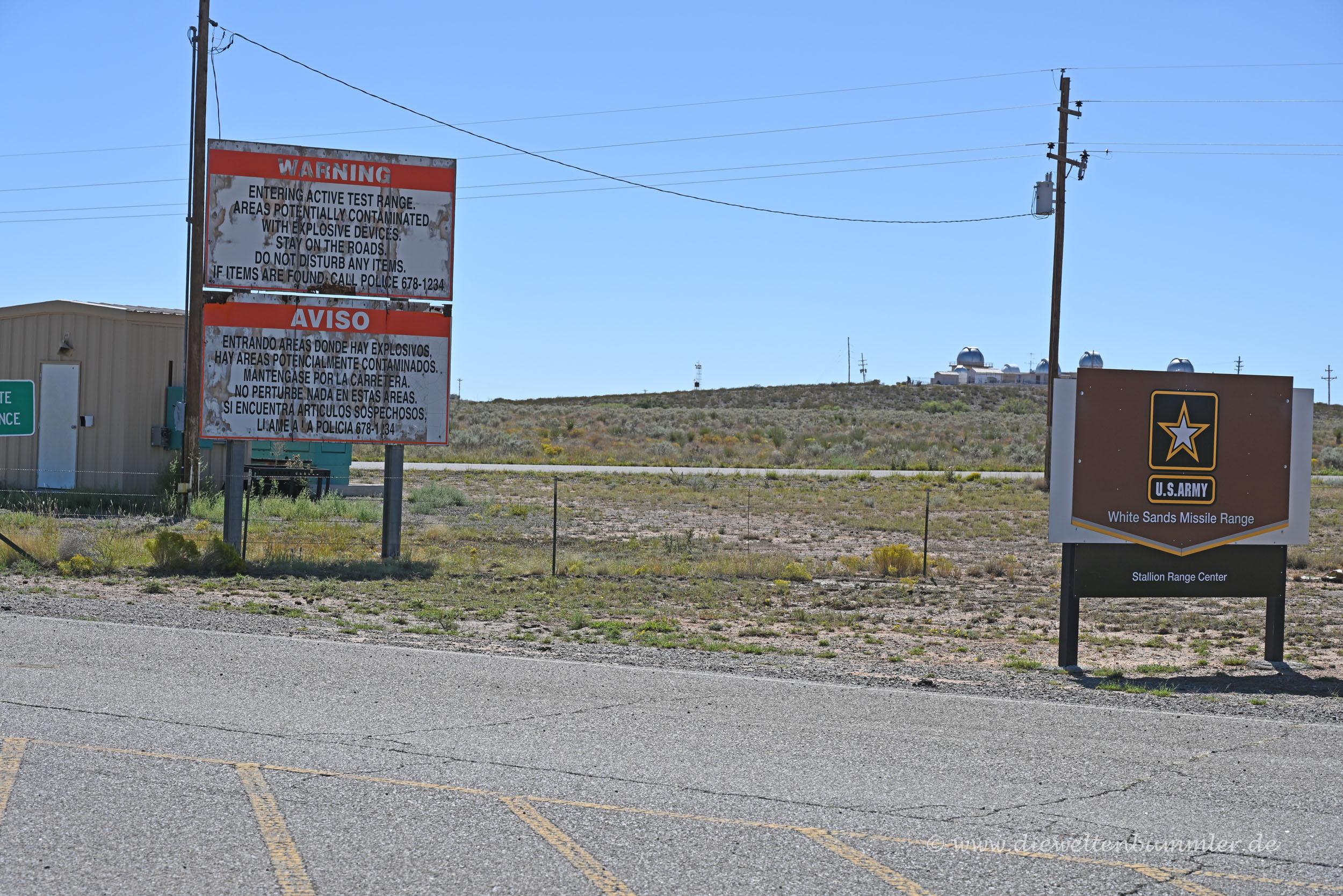 Zufahrt zur White Sands Missile Range