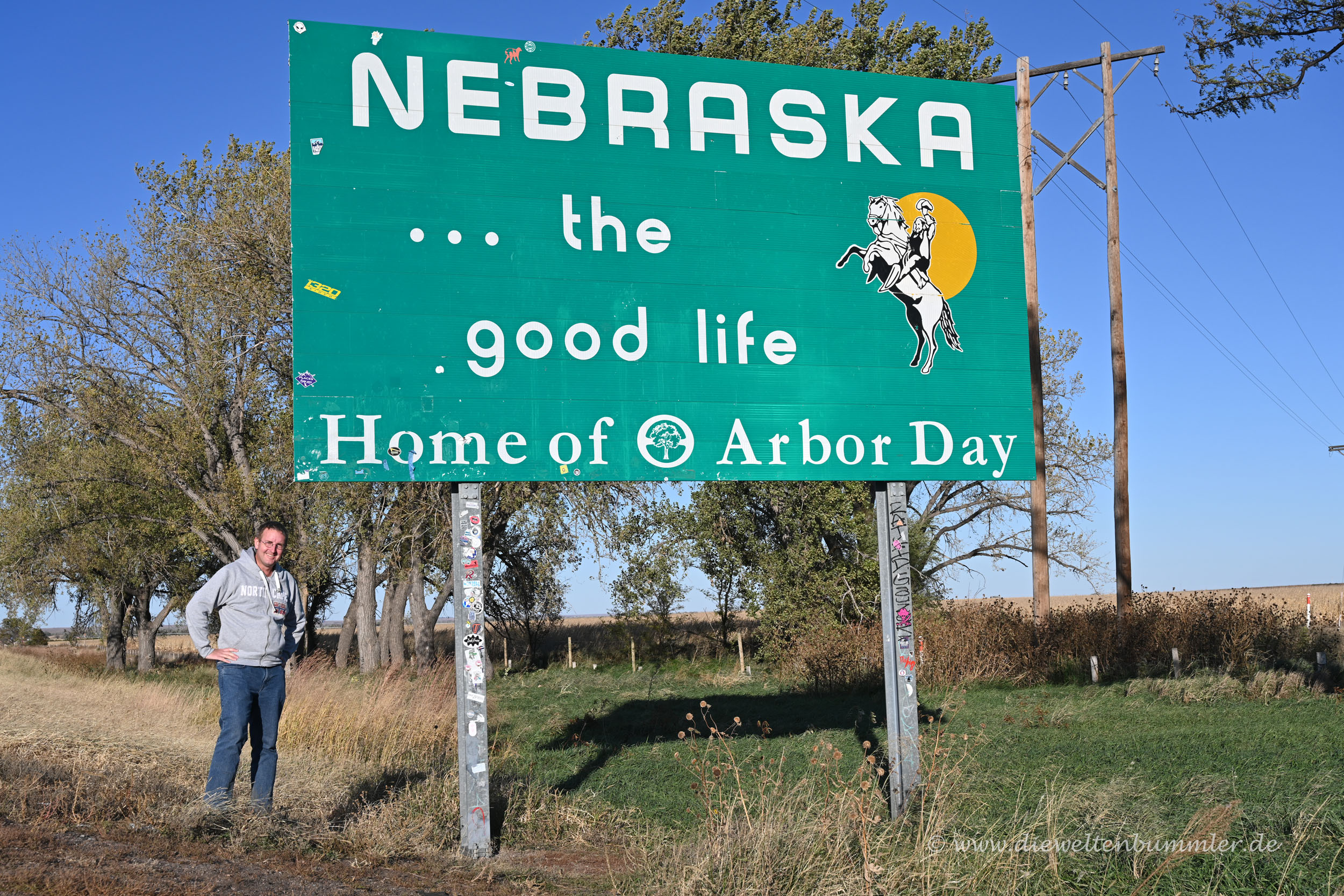 Michael Moll am Nebraska Welcome Sign