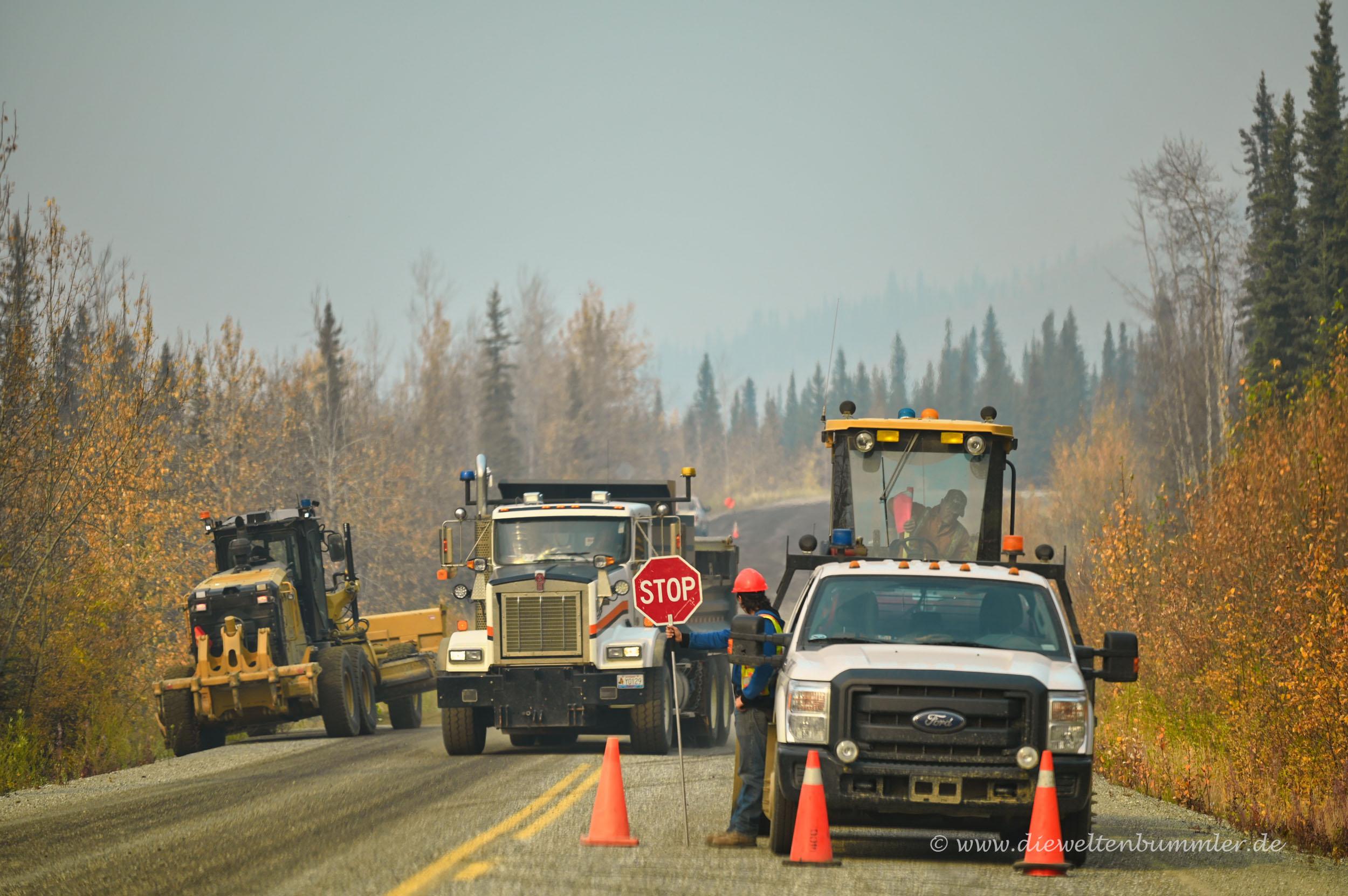 Baustelle auf dem Klondike Highway