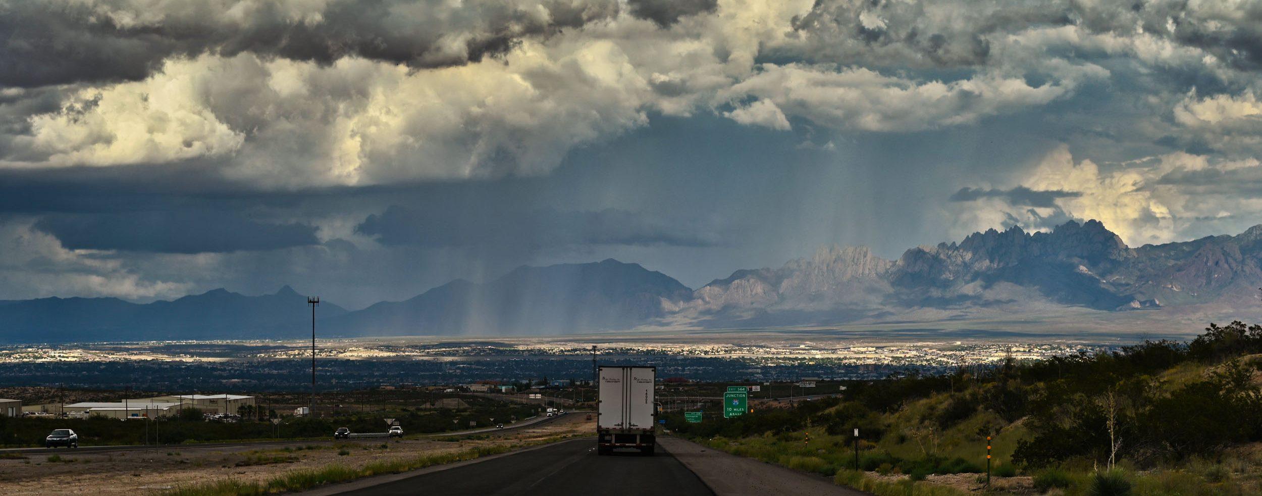 Regen über Las Cruces