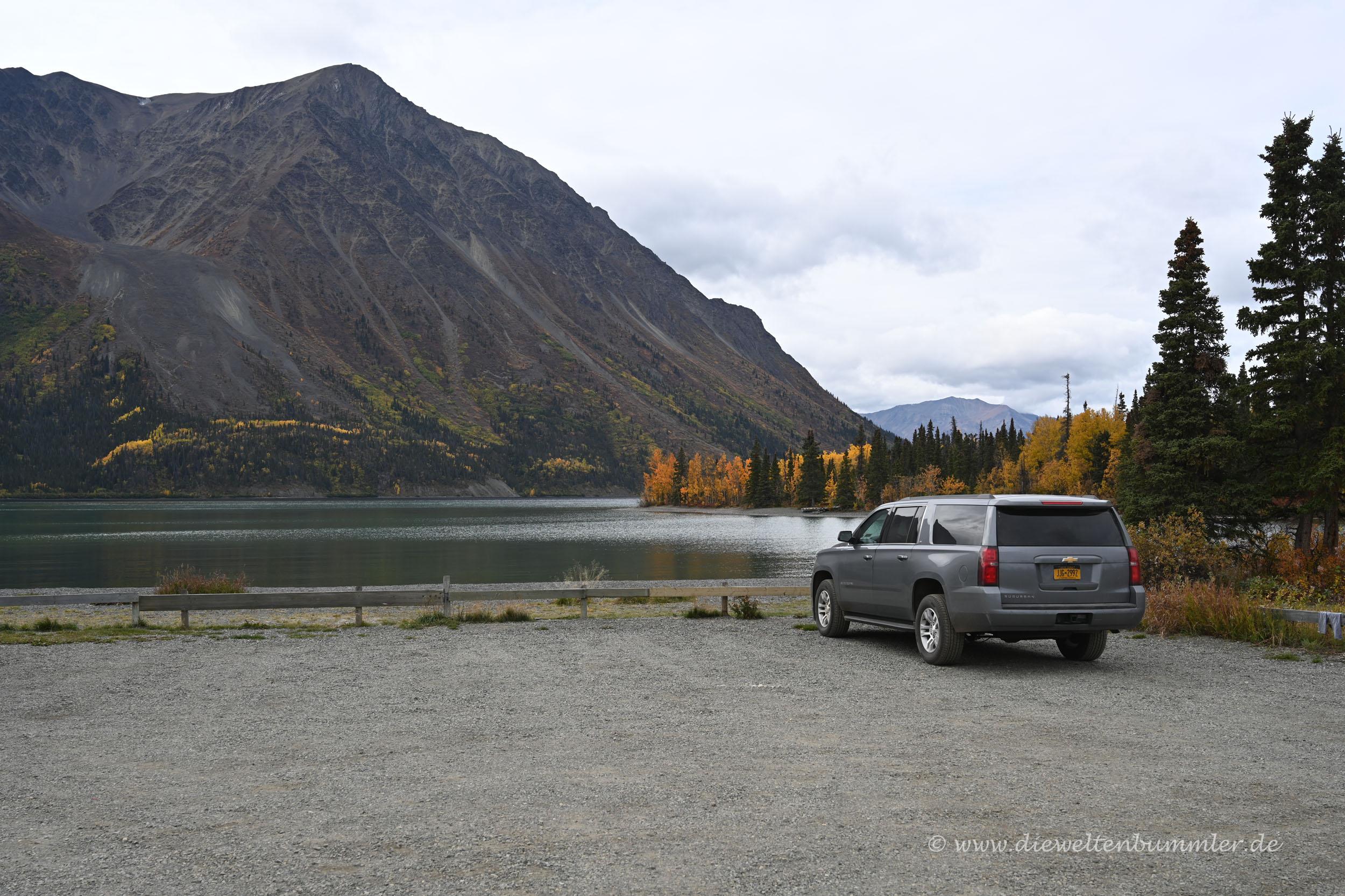 Unser Wagen am Kathleen Lake