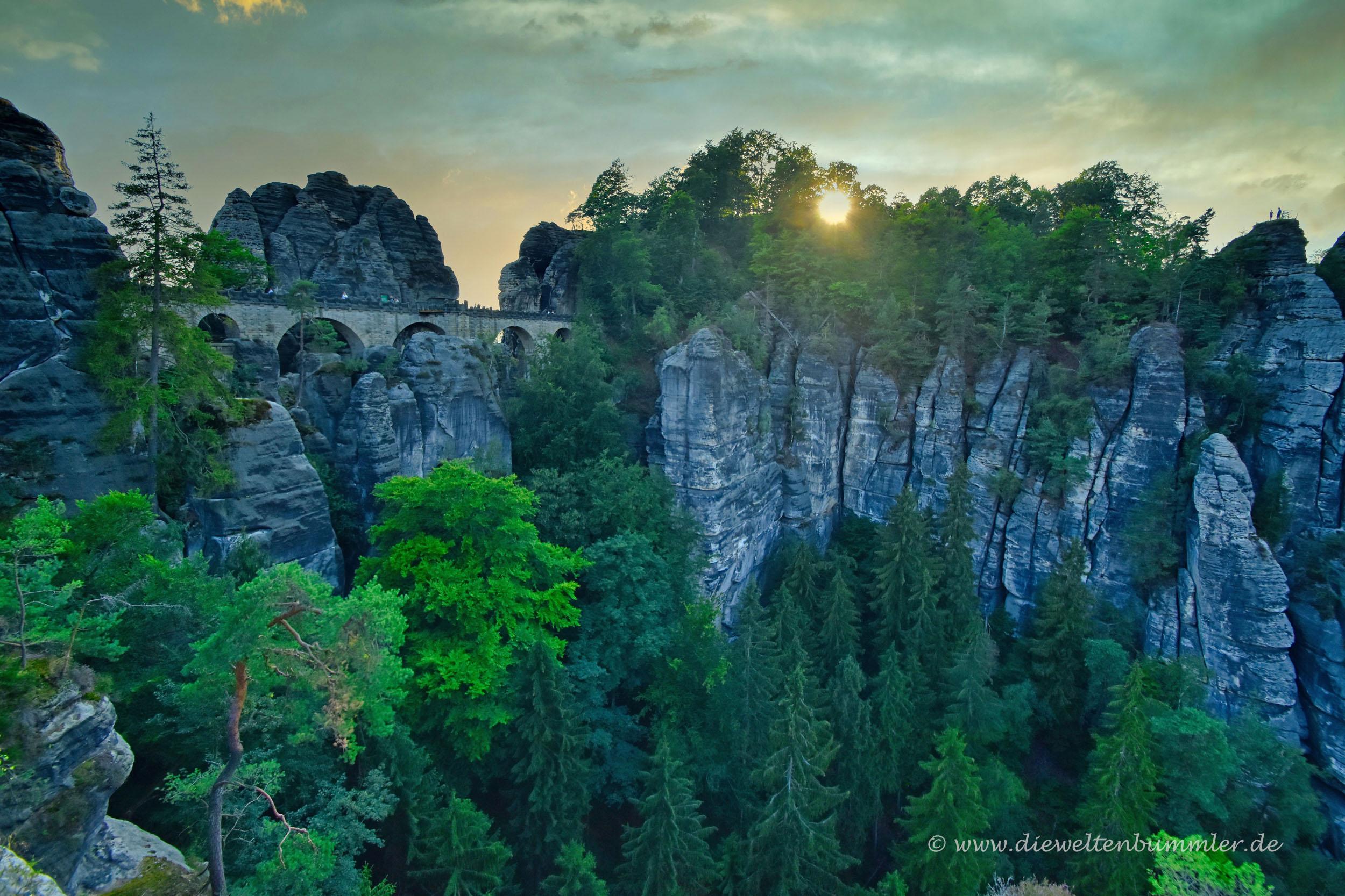 Basteibrücke im Abendlicht