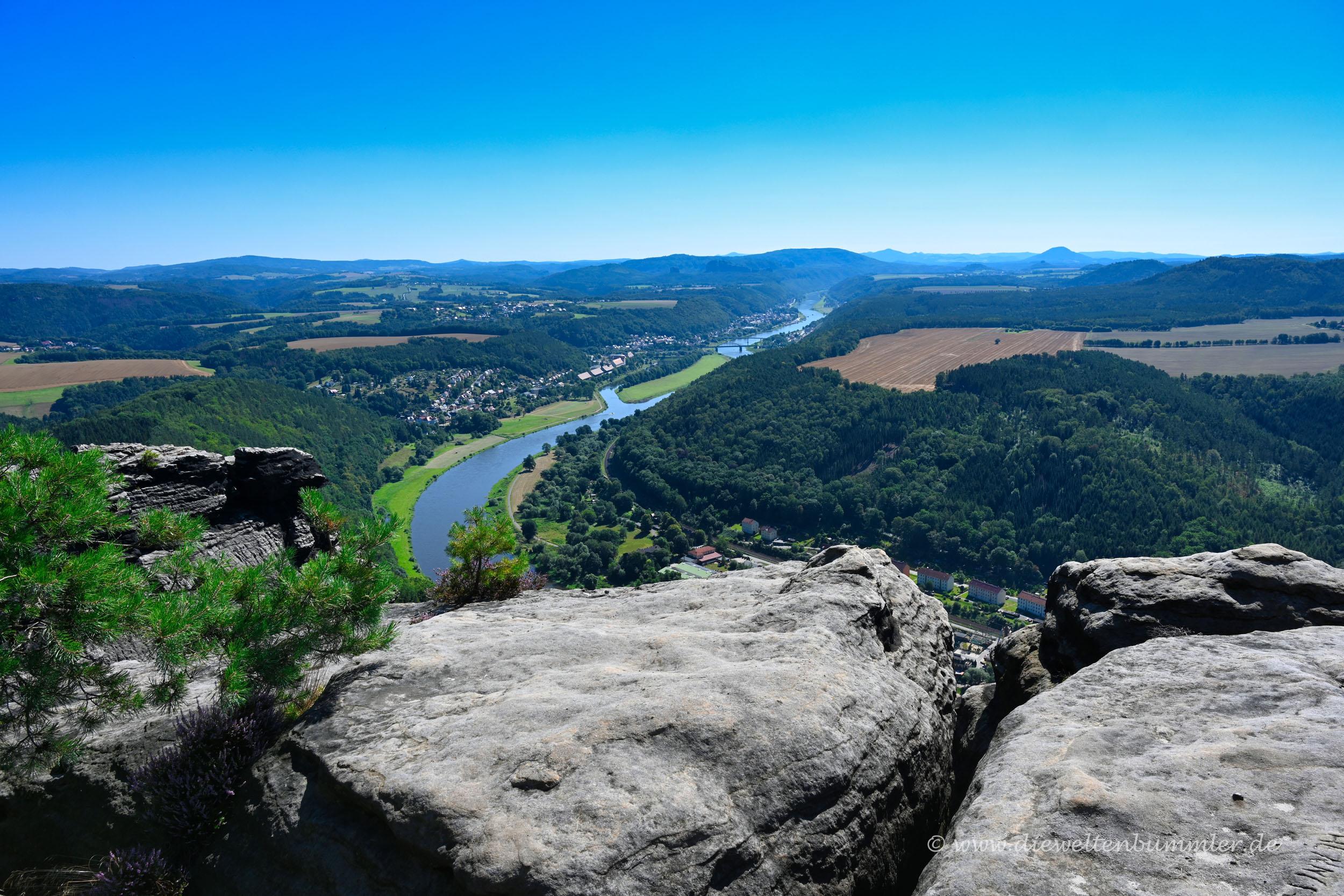 Blick vom Lilienstein nach Bad Schandau