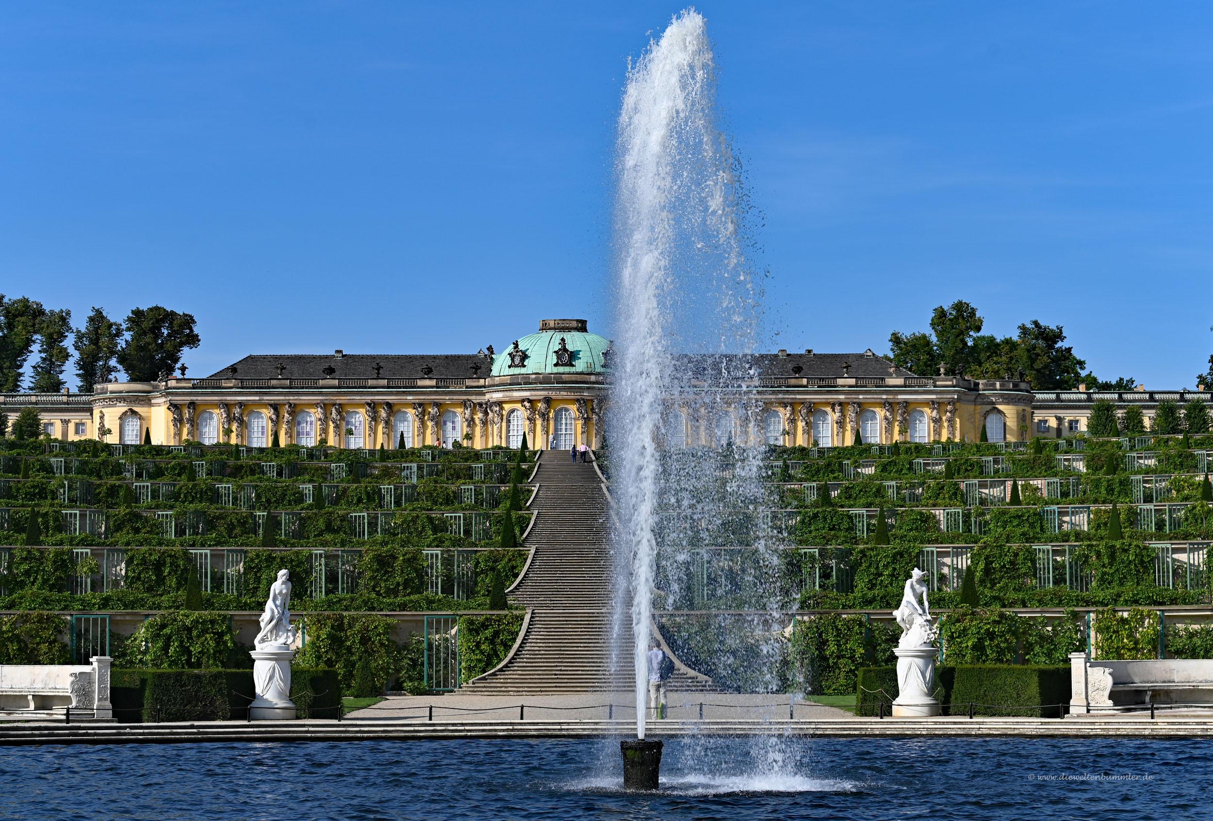 Fontäne vor dem Schloss Sanssouci